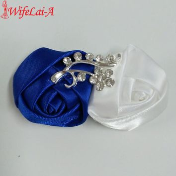 WifeLai-A 5pcs/lot Royal Blue White Wedding Corsages Boutonnieres Groom Bridal Wedding Flower Men's Suit Pin Brooches XH1711
