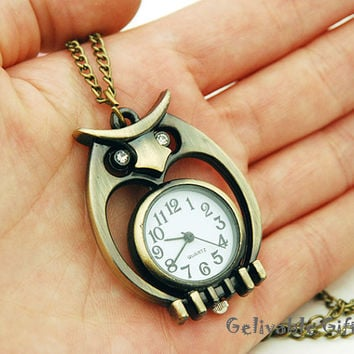 Owl Pocket Watch Necklace-with crstal eyes and round watch in owl stomach NWO05