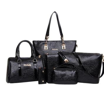 Xiniu 6 pcs Women Handbag Within 6 Bags Tote Purse Leather Ladies Messenger Hobo Bag para mujer#GHYW