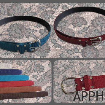 Lovely colorful Genuine Python Skin Belt / Unisex (Woman or Man)/ White.Red.Brown.Black.Blue Turqoise. Dark Blue. Python Belt