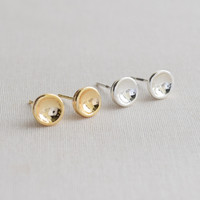 Concave Circle Stud Earrings