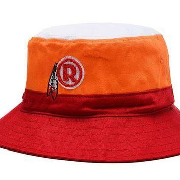 Washington Redskins Full Leather Bucket Hats Orange