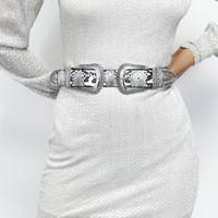 Buckle Up Oversized Buckle Western Snakeskin Belt