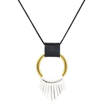 Leather Wrapped O Ring Long Necklace