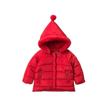 Steve Madden Baby Girl Faux Fur Trimmed Hooded Puffy Jacket Size 12M