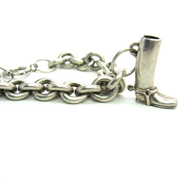 Charm Bracelet. English Riding Boot Charm. Equestrian. Heavy Sterling Silver Cable Chain. Unique Handmade. Vintage 1920s Jewelry. 1.78 oz