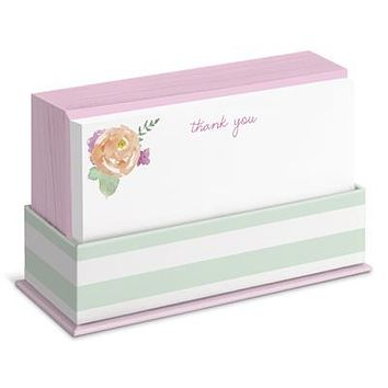 Sweet Mint Floral Flat Notes Boxed Set