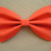 Orange color fabric Hair Bow for kids by ClipaBowBoutique on Etsy