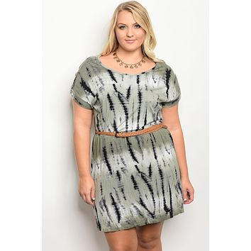 Ladies fashion plus size short sleeve tie dye printed shift dress with a rounded neckline featuring a detachable waist tie