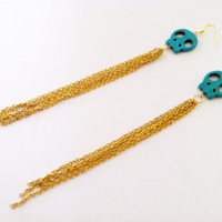 Turquoise Skull Chain Earrings