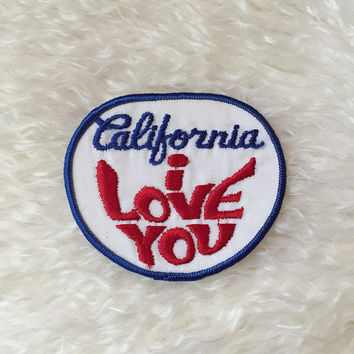 "Authentic vintage 1970's "" California I Love You "" travel souvenir hippie groovy patch"