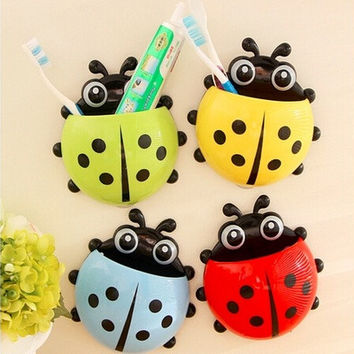 Cute Ladybird Beetle Toothbrush Toothpaste Toothpaste Holder Mix Colors Storage Holders & Racks Bathroom Shelves Pencil/pen Holder [8045580423]