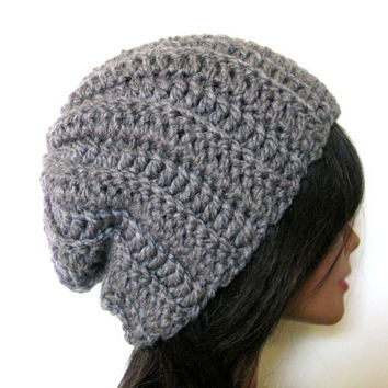 RIbbed Gray Beanie Slouchy Womens Mens Hipster Grey Slouch Hat