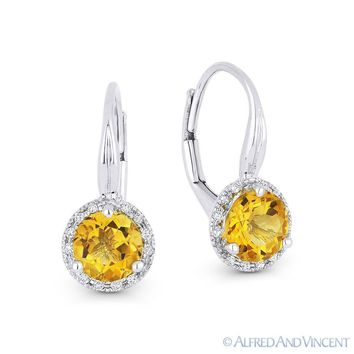 1.32 ct Citrine & Diamond 14k White Gold Drop Dangling Leverback Baby Earrings