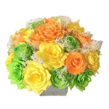 Peony and Rose centerpiece, Wedding decor, Iime yellow and orange centerpiece, Baby shower decor, bridal shower decor, Floral arrangements
