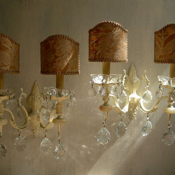 Pair of Vintage Italian Painted Bronze 2 Arm Crystal Wall Sconces with French Brown & Gold Fortuny Clip On Lamp Shades - Handmade in Italy