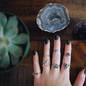 Turquoise Midi Ring Set 7 Pack  - White Jade Om Jewellery Womens Tumblr Stone Rose Turquoise Raw Cut Unique Hippie Boho Bohemian Christmas G