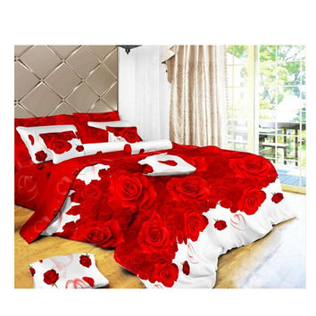 3D Flower Queen King Size Bed Quilt/Duvet Sheet Cover 4PC Set Cotton Sanded 021