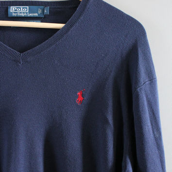 Ralph Lauren Sweater Navy Blue 100% Pima Cotton Oversize Polo Pullover Slouchy Sweater V-neck Unisex Knit Minimalist Vintage 90s Size L - XL