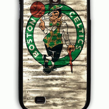Samsung Galaxy S4 Case - Rubber (TPU) Cover with Boston Celtics NBA Team Logo on Wood Rubber Case Design