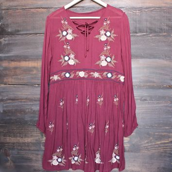 gauzy embroidered boho dress - burgundy