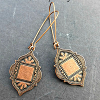 Copper dangle earrings. Copper Arabian Style Medallions with kidney ear wire. Copper jewelry, simple, lightweight earrings.
