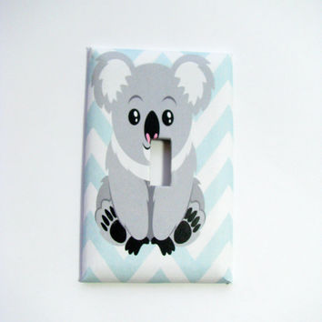 Light Switch Cover - Light Switch Plate Koala Bear Chevron