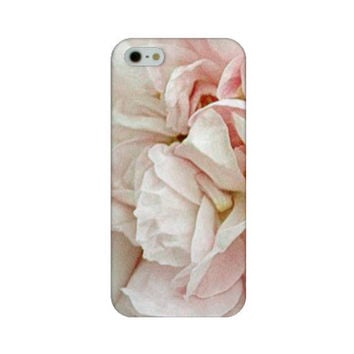 Blush Rose iPhone 5 case 4 4s  Pink White Gray Shabby Cottage Chic Floral Flower Garden