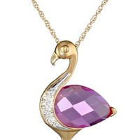 14k Yellow Gold Created Pink Sapphire with Diamond-Accent Flamingo Pendant Necklace, 18""