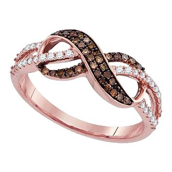 14kt Rose Gold Women's Round Cognac-brown Color Enhanced Diamond Infinity Ring 1/3 Cttw - FREE Shipping (US/CAN)