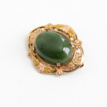Sale - Vintage 10k Gold Filled Jade Brooch Pin - Art Deco 1940s Green Gemstone Rose Gold Flower Motif Filigree Jewelry