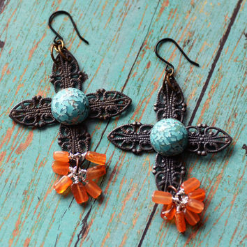 Rustic Filigree, Cross Earrings, Carnelian Jewelry, Vintage Glass, Orange and Turquoise, Mexican Folk Art