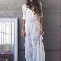 BOHO Slit Side Lace White Chiffon Maxi Dress  Lapel Long Sleeve Beach  Dress