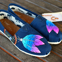 Blue and Purple Dream Catcher TOMS shoes by BStreetShoes on Etsy