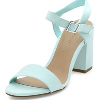 Mint Green Ankle Strap Block Heel Sandals