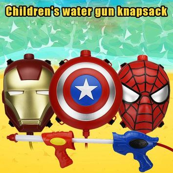 Avenger League Boy Boy Iron Man Spider-man Backpack Water Gun Outdoor Combat Water Gun Combination Launches Water Gun Toy