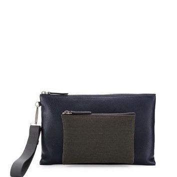 Brunello Cucinelli Pebbled Leather Wristlet Bag with Monili Front, Navy
