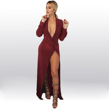 Red Long Sleeve Deep V-Neck Wrap Ruched Front Slit Maxi Dress