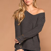 Mia Charcoal Knit Sweater