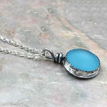 Bright Light Blue Beach Glass Sterling Silver Necklace