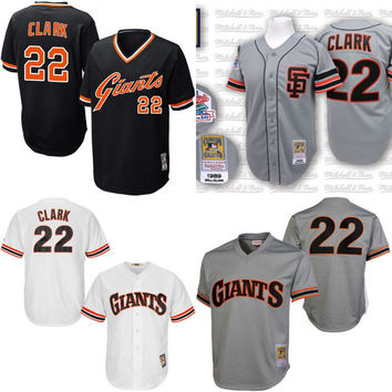 Black white grey orange cream Throwback Will Clark Authentic Jersey , Men's #22 Mitchell And Ness San Francisco Giants