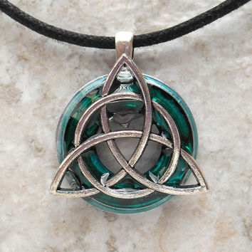 triquetra necklace: teal - mens jewelry - celtic jewelry - mens necklace - irish jewelry - cord necklace - unique gift - fathers day