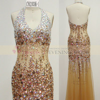 Freeshipping DW62103-2 Halter Champagne Deep V-Neck Backless dresses evening dresses with stones, View dresses evening dresses with stones, Chaozhou Choiyes Evening Dress Product Details from Chaozhou Choiyes Evening Dress Co., Ltd. on Alibaba.com