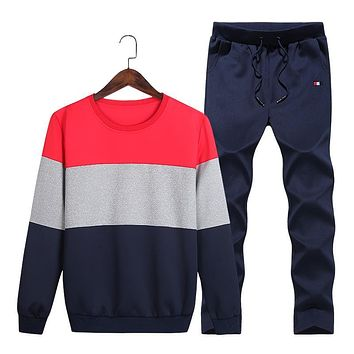 Tracksuit Men Hoodies Men Winter Fleece Tracksuits Striped Sportswear 2PC Jackets + Pants Sudaderas Hombre Men's Clothing TZ228
