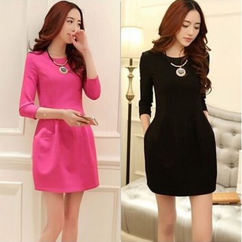 Fashion Casual Women Lantern Sleeve Dress = 1876597124
