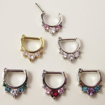 1 piece 2016 Surgical Steel Titanium 5 Crystal Nose Ring Daith septum Clicker Tragus rings Piercing Body Jewelry Nose Hanger