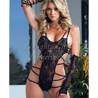 Floral laced mesh teddy set - Naughty Girl Lingerie