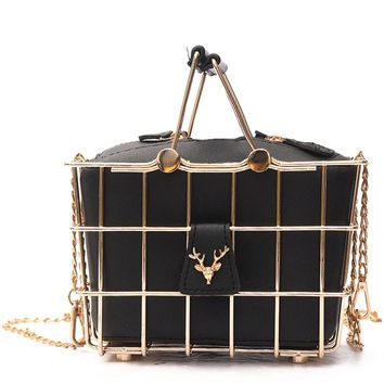 Retro Elegant Personality Luxury Handbag Designer Deer Head Metal Basket Frame Split Leather Tote Shoulder Bag