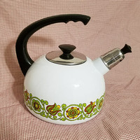 White Tea Kettle Green Flowers Vintage Kitchen Decor
