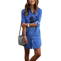 Hot Sales Casual Women Dress Long Sleeve Mini Shirt Dress Blue Jeans Denim New